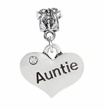 Auntie Aunt Niece Heart Nephew Gift Family Dangle Bead for Euro Charm Bracelets