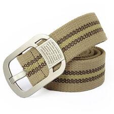 Liso Unisex Banda Hombre Casual Lona Cinturilla Cintura Cinturón Metal Pin