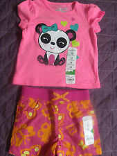 Lot of Jumping Beans Baby Girls Panda & Bird Tee & Butterfly Shorts 12M New