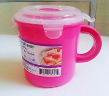 SUREFRESH To Go Soup Mug/cup With Lid Microwave,FREEZER  23.5 Oz PINK BPA FREE