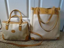 Authentic GUCCI GG Pattern Canvas Leather Shoulder Purse + Tote Bag - Italy
