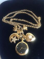 "Vintage Joan Rivers 30"" Charm Necklace w/ Watch-Heart-Moon-Elephant-Bee-Flower"