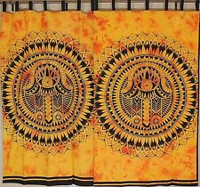 Amber Mandala Curtains - 2 Cotton Printed Indian Window Treatments Panels 78""