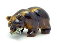 Tigers Eye Bear with Dalmatian Jasper Fish Hand Carved Gemstone Animal Totem