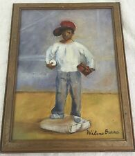 Baseball Boy 1982 Original Artwork with Frame Wilone Burrks 9x12in ONE OF A KIND