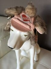 BNWT Boots & Barkley Trapper Style Dog Hat XS/Small Pink Corduroy w Faux Fur