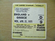 Tickets- 1971 Henri Delaunay Cup Qualifying ENGLAND v GREECE, 21 April