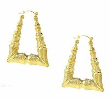 Gold Plated Hollow Triangle Bamboo hoop Earrings 2.25 Inches Drop.