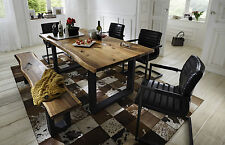 Esstisch Queens Tisch Esszimmer Akazie massiv Natur geölt Metall grau 200x100