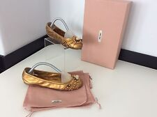 miu miu Bronze Gold  Ballerina Shoes Flats Size 35 Uk 2.5 Boxed Dust Bags Vgc