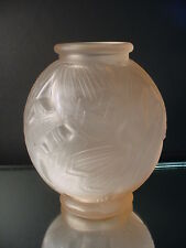 "Rare Pierre D'Avesn French Art Deco Satin Pink ""Les Nenuphars"" Vase France 1925"