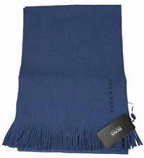 NEW Boss Hugo Boss Men's Slate Blue Wool Fringed Logo Scarf Muffler