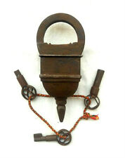Old Looking 3 Keys Iron Tricky / Puzzle Pad Lock, Collectible, Rich Patina