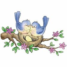 Spring Birds On Nest Clear Unmounted Rubber Stamp Wild Rose Studio # CL489 New