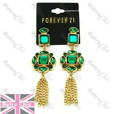 9cm LONG vintage style GREEN RHINESTONE tassle EARRINGS gold fashion CHANDELIER