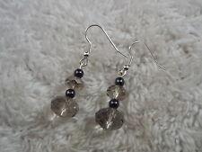 Smoke Crystal & Hemetite Stone Pierced Earrings  (C19)