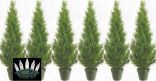 6 CEDAR IN OUTDOOR 3' TOPIARY TREE PLANT ARTIFICIAL BUSH WITH CHRISTMAS LIGHTS