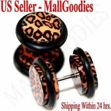 1253 Fake Cheater Illusion Plugs Leopard Cheetah Print Spots Parttern 00G 10mm
