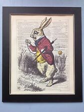Alice In Wonderland White Rabbit Watch gift Idea Antique Dictionary Page Art #y2