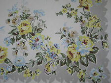 Delightful Vintage Tablecloth Yellow And Blue Roses & Wild Flowers