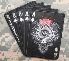 DEAD MANS HAND ACES & 8'S NAVY SEAL TACTICAL ARMY SILVER BLACK OPS VELCRO PATCH