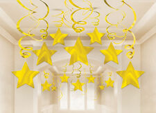 30 x GOLD shooting STAR DECORATIONS hanging SWIRLS Hanging Gold Party Decoration