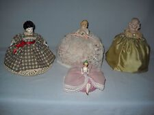 4 Vintage Pin Cushion Half Doll Porcelain Bisque Satin Germany