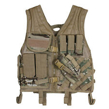 Heavy Duty Military Assault Cross Draw MOLLE Tactical Vest GENUINE MULTICAM Camo
