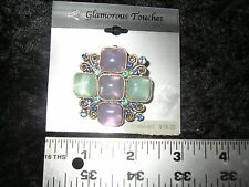 Glamorous Touches purple green bling brooch pin slide NEW