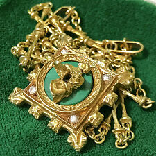 Salvador Dali Madonna de Port Lligat 18ct Gold Necklace Diamonds & Malachite