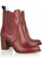 Authentic MARC by MARC JACOBS Women's Red Leather Stacked Heel Ankle Boots Sz 34