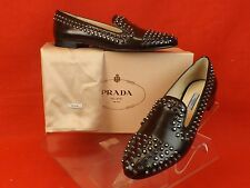 NIB PRADA ESPRESSO LEATHER SILVER METAL STUDS STUDDED FLATS LOAFERS 37.5 $1K