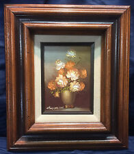 Vintage Artist Signed Oil Painting Roses Flowers Floral