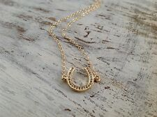 Yellow 14K Gold Filled HORSESHOE Celebrity Lucky Pendant charm Necklace New LUCK