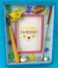 "Skibbles ALL STAR DAD Shadow Box Picture Frame, 3½"" x 5"" photo, kid art design"