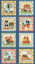 Crafty CATS Large Square Panel cotton fabric Size 110cm x 60cm  larger available