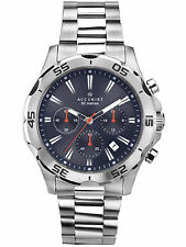 Accurist Gents Blue Dial Silver Stainless Steel Bracelet Chronograph Watch 7024