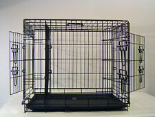 "Everila 42"" Extra Large 3 Door Dog Crate Cat Cage Kennel Divider Retriever Boxer"