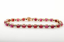 Antique RETRO 1940s $6000 15ct Natural RUBY Diamond 14k Gold Tennis Bracelet WOW