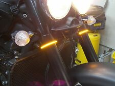 LED 52mm-58mm Motorcycle Fork Turn Signal/Running Light Kit w/ Smoked Lens