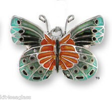 Zarah Zarlite Satinwing BUTTERFLY CHARM Silver Plated Enamel - Gift Wrap Boxed