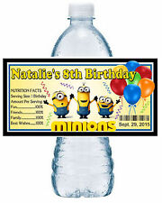 20 ~ MINIONS BIRTHDAY PARTY FAVORS WATER BOTTLE LABELS ~ waterproof ink