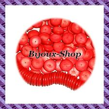50 perles spacer coco donut rouge 20mm