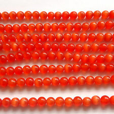 "16"" CAT'S EYE GLASS 6MM ROUND BEADS - RED - CT09"