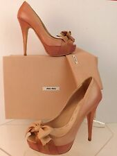 NIB MIU MIU PRADA PINK WASHED NAPPA LEATHER BOW PEEP TOE PLATFORM HEEL PUMPS 35