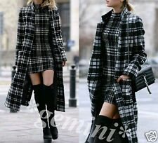 ZARA SIZE S / 36 38 WOLLE MANTEL KARIERT Dufflecoat GREY CHECKED LONG WOOL COAT