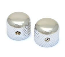(2) Gotoh Chrome Short Dome Guitar/Bass Knobs for 6mm Split Shaft MK-3150-010