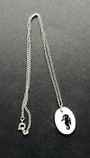 """New Mother of Pearl Pendant on 16"""" Silver Chain Sea Horse on Abalone Shell"""