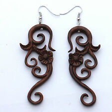 EARRINGS Sono Wood rosewood  ERJ-058 carved wooden pretty flower dangles organic