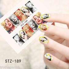 Full Wrap Water Transfers Nail Art Stickers Decals Pop Music Marilyn Monroe s189